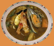 特製海鮮のスープカレー(ライス付) 海鮮の旨みが混ざり合いまろやかな深みのある味です。